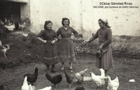 1954...Cuidando a las gallinas felices. Ascension, Clemencia